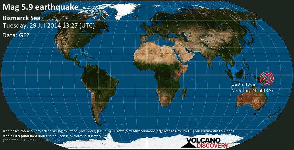 Moderate mag. 5.9 earthquake  - Bismarck Sea on Tuesday, 29 July 2014
