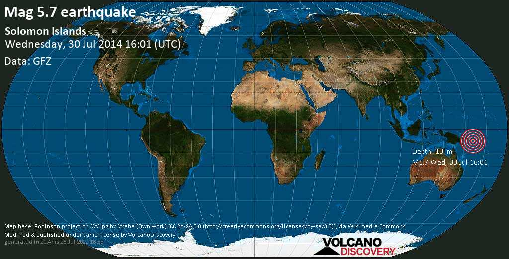 Moderate mag. 5.7 earthquake  - Solomon Islands on Wednesday, 30 July 2014