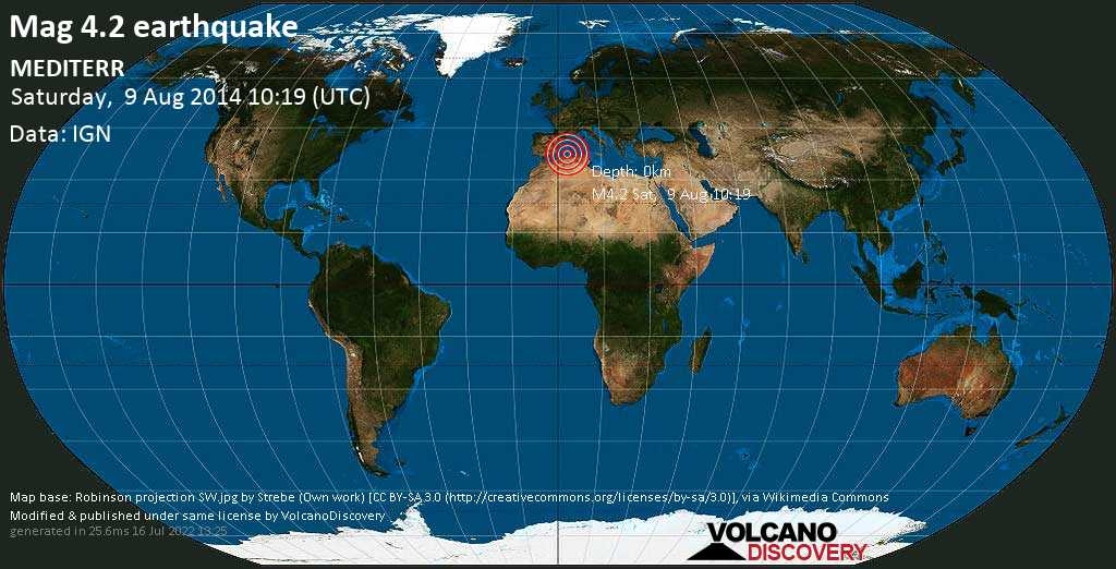 Light mag. 4.2 earthquake  - MEDITERR on Saturday, 9 August 2014