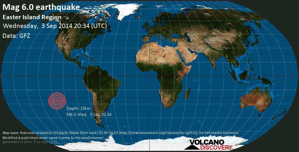 Strong mag. 6.0 earthquake  - Easter Island Region on Wednesday, 3 September 2014