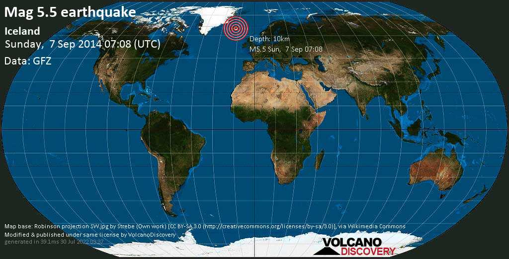 Moderate mag. 5.5 earthquake  - Iceland on Sunday, 7 September 2014