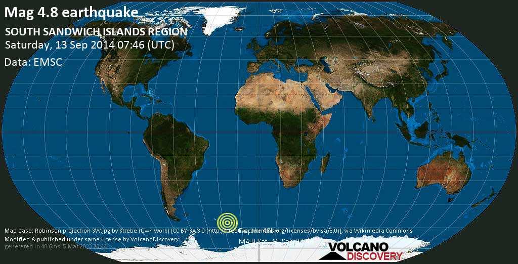 Light mag. 4.8 earthquake  - SOUTH SANDWICH ISLANDS REGION on Saturday, 13 September 2014
