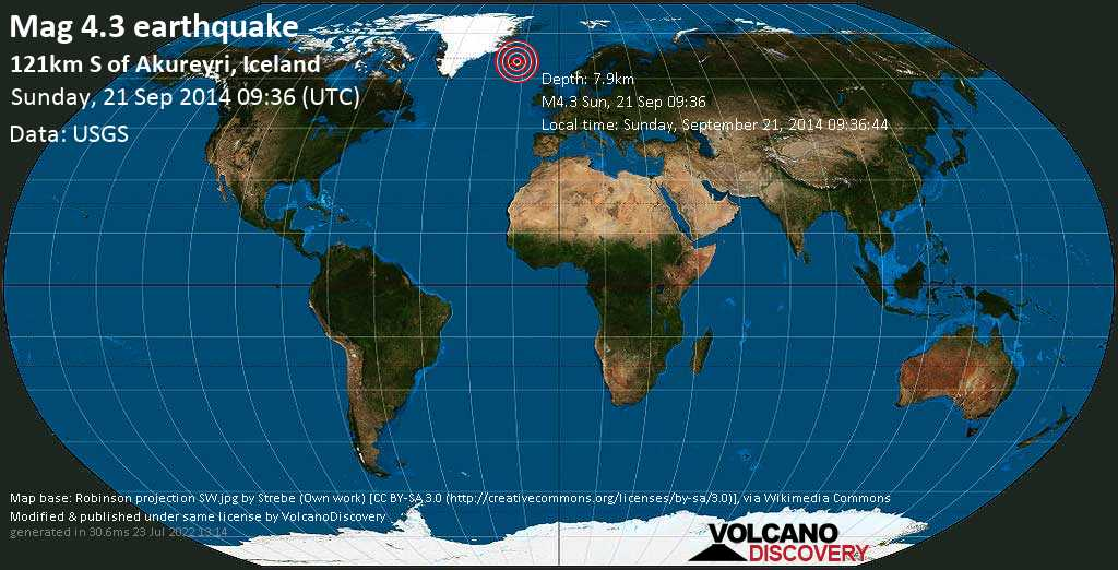 Light mag. 4.3 earthquake  - 121km S of Akureyri, Iceland on Sunday, 21 September 2014