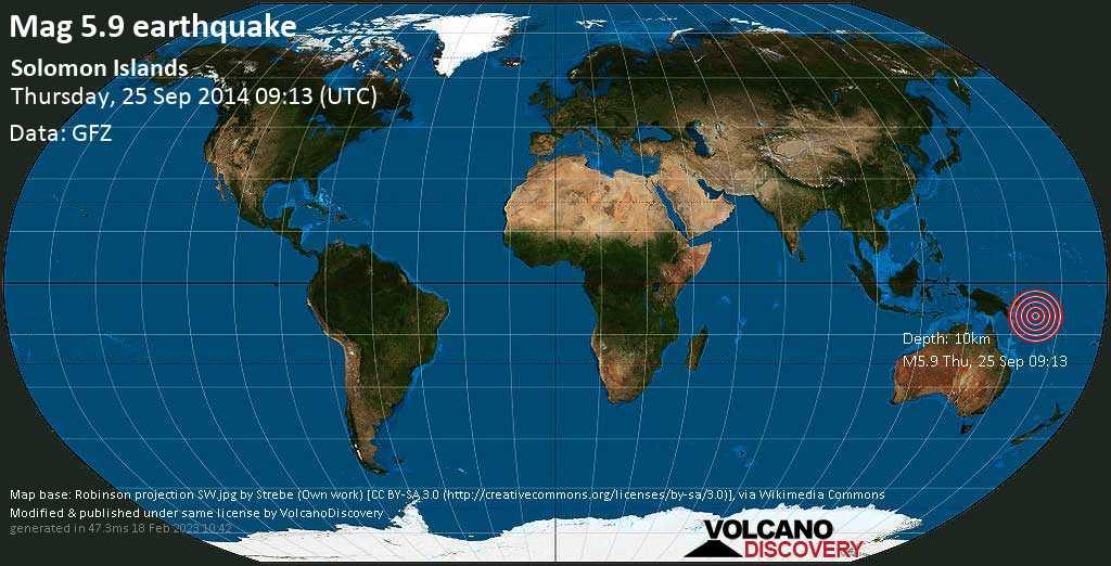 Moderate mag. 5.9 earthquake  - Solomon Islands on Thursday, 25 September 2014
