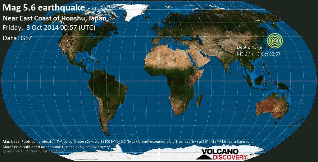 Moderate mag. 5.6 earthquake  - Near East Coast of Honshu, Japan on Friday, 3 October 2014
