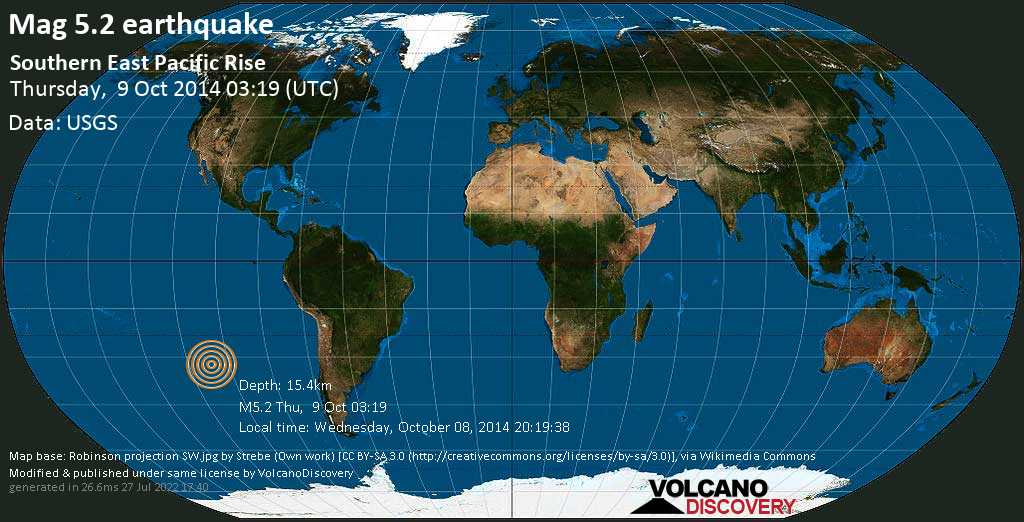 Moderate mag. 5.2 earthquake  - Southern East Pacific Rise on Thursday, 9 October 2014