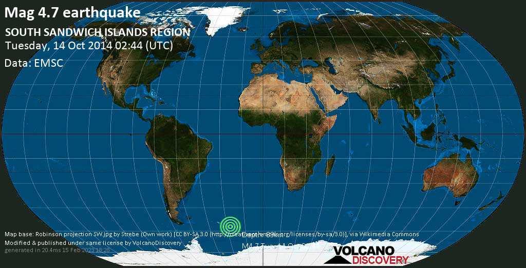 Light mag. 4.7 earthquake  - SOUTH SANDWICH ISLANDS REGION on Tuesday, 14 October 2014