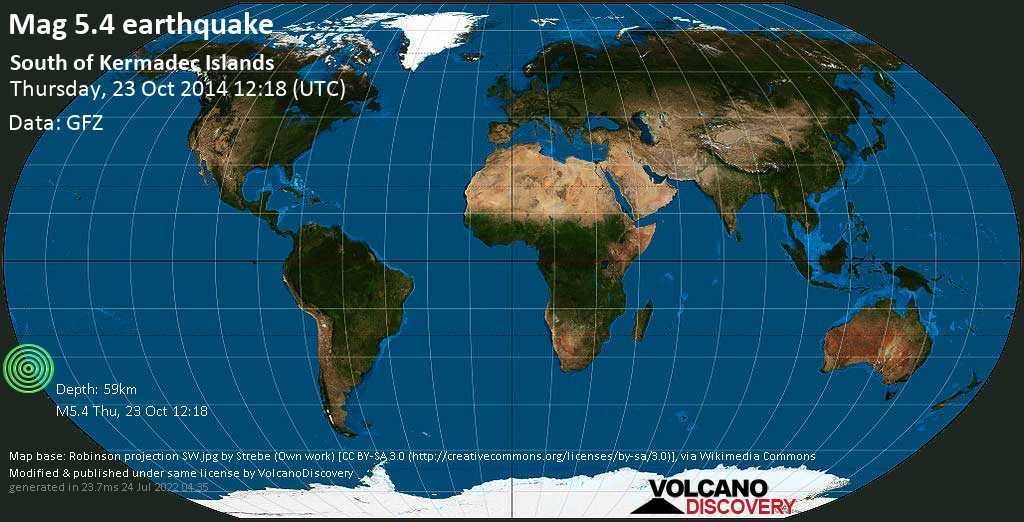 Moderate mag. 5.4 earthquake  - South of Kermadec Islands on Thursday, 23 October 2014