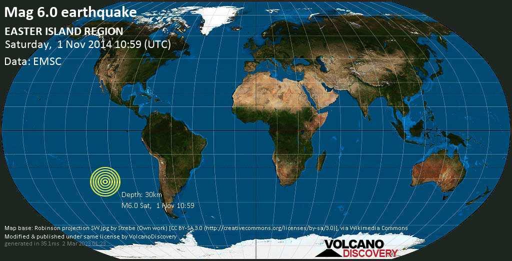 Strong mag. 6.0 earthquake  - EASTER ISLAND REGION on Saturday, 1 November 2014