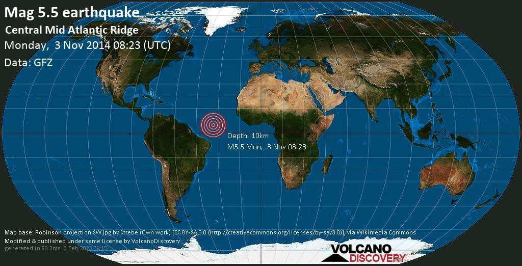 Moderate mag. 5.5 earthquake  - Central Mid Atlantic Ridge on Monday, 3 November 2014