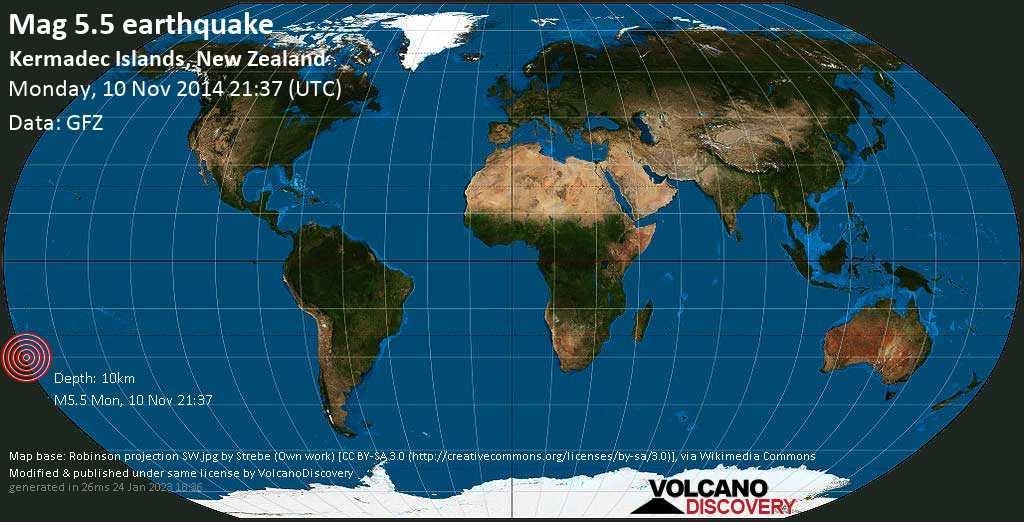 Moderate mag. 5.5 earthquake  - Kermadec Islands, New Zealand on Monday, 10 November 2014