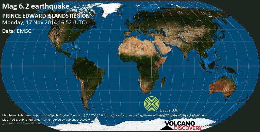 Strong mag. 6.2 earthquake  - PRINCE EDWARD ISLANDS REGION on Monday, 17 November 2014