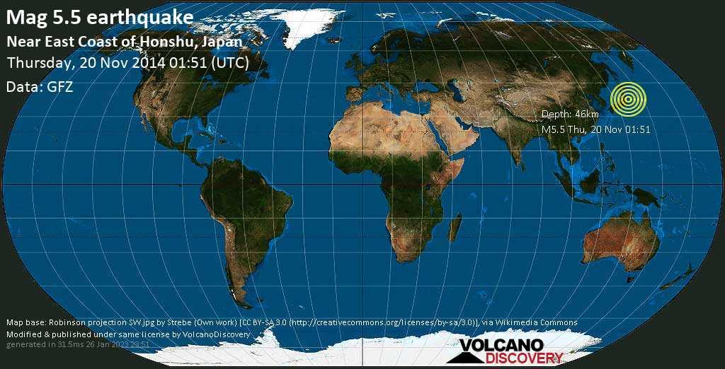 Moderate mag. 5.5 earthquake  - Near East Coast of Honshu, Japan on Thursday, 20 November 2014