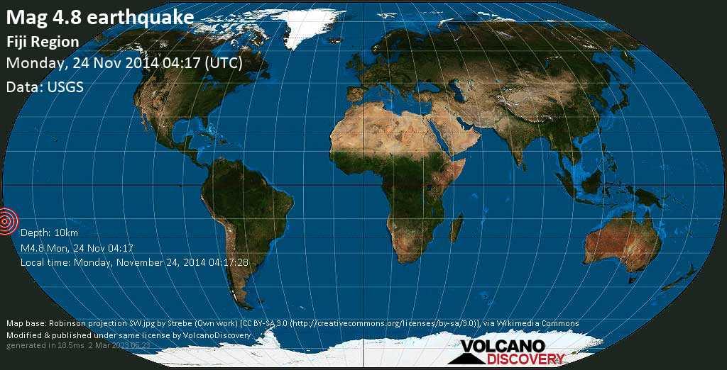 Light mag. 4.8 earthquake  - Fiji region on Monday, 24 November 2014