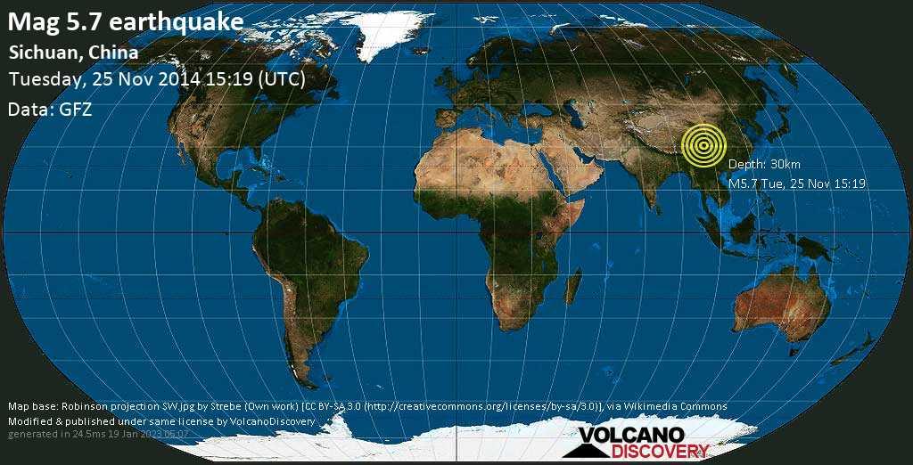 Moderate mag. 5.7 earthquake  - Sichuan, China on Tuesday, 25 November 2014