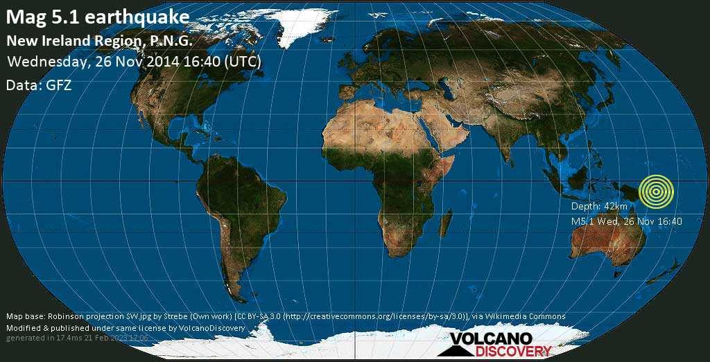 Moderate mag. 5.1 earthquake  - New Ireland Region, P.N.G. on Wednesday, 26 November 2014