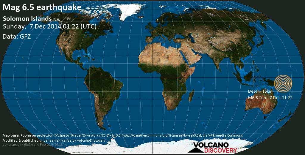 Strong mag. 6.5 earthquake  - Solomon Islands on Sunday, 7 December 2014