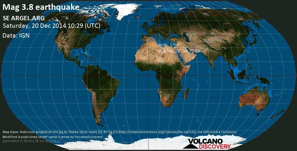 Minor mag. 3.8 earthquake  - SE ARGEL.ARG on Saturday, 20 December 2014