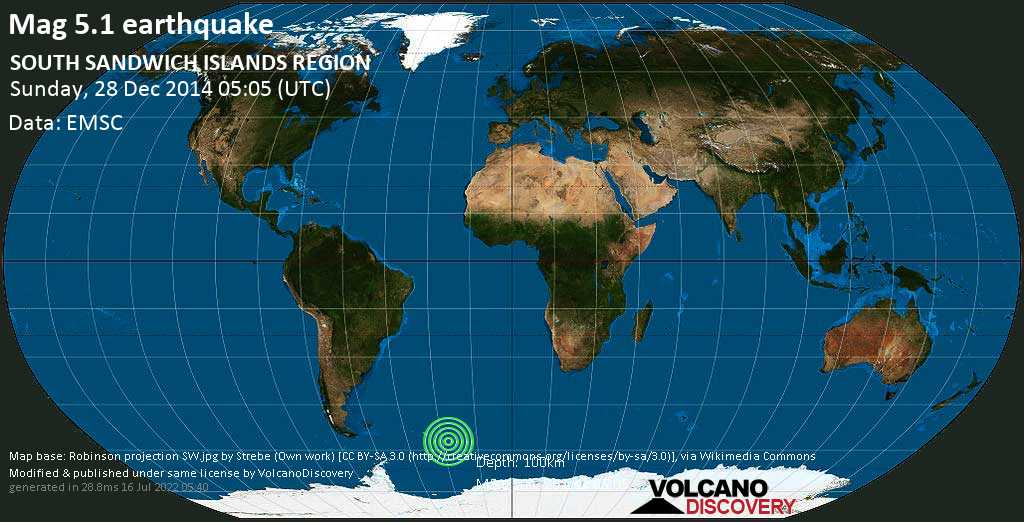 Moderate mag. 5.1 earthquake  - SOUTH SANDWICH ISLANDS REGION on Sunday, 28 December 2014