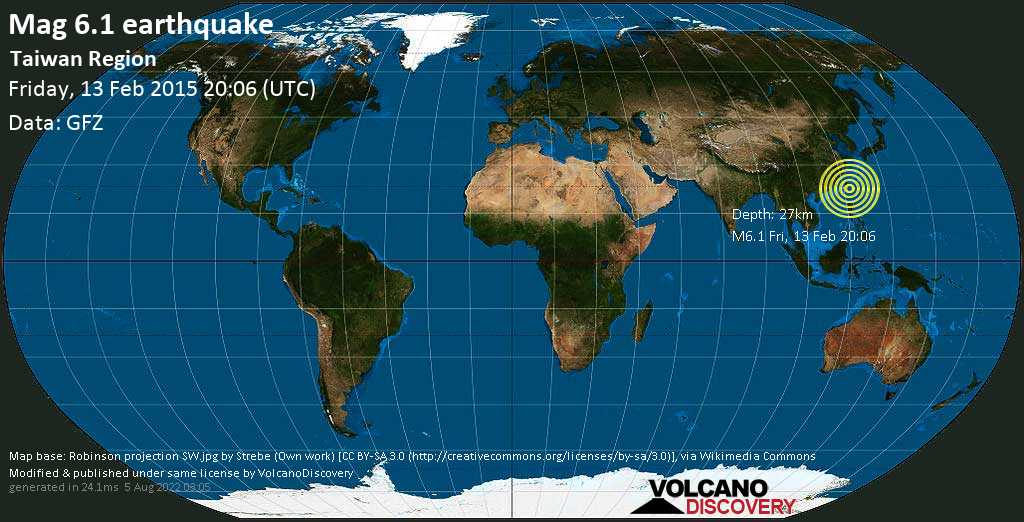 Strong mag. 6.1 earthquake  - Taiwan Region on Friday, 13 February 2015