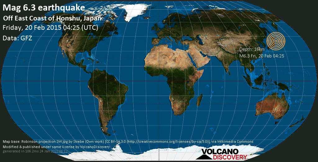 Strong mag. 6.3 earthquake  - Off East Coast of Honshu, Japan on Friday, 20 February 2015