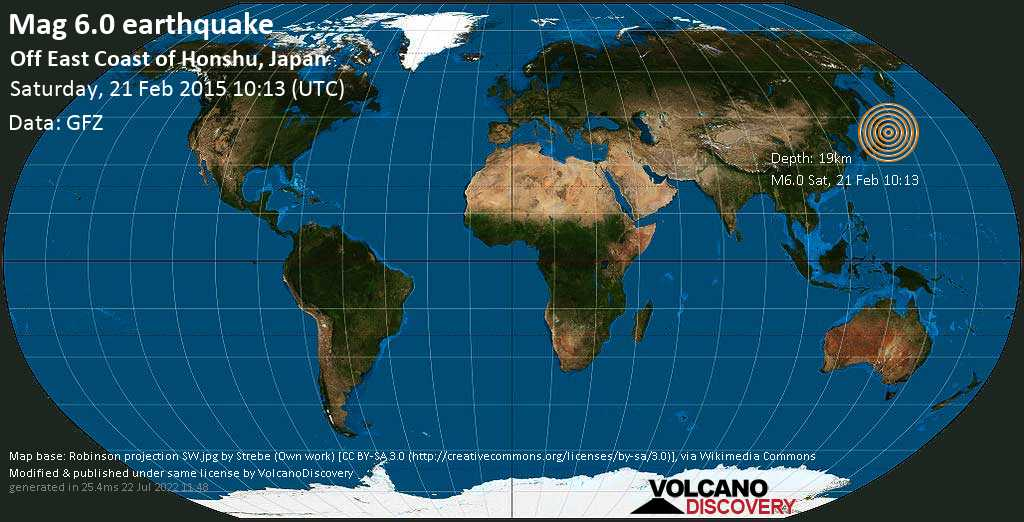 Strong mag. 6.0 earthquake  - Off East Coast of Honshu, Japan on Saturday, 21 February 2015