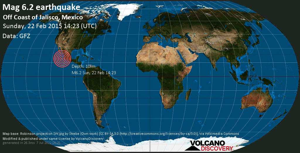 Strong mag. 6.2 earthquake  - Off Coast of Jalisco, Mexico on Sunday, 22 February 2015