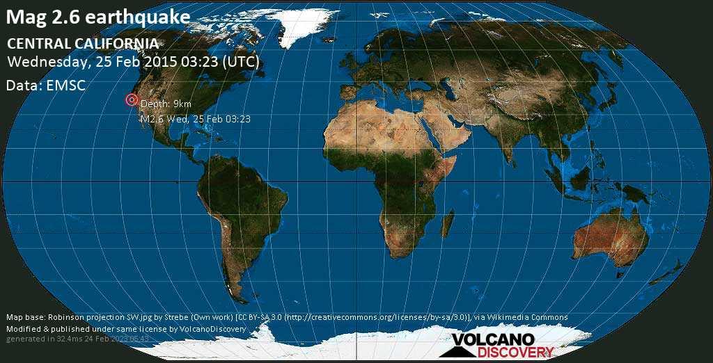 Minor mag. 2.6 earthquake  - CENTRAL CALIFORNIA on Wednesday, 25 February 2015
