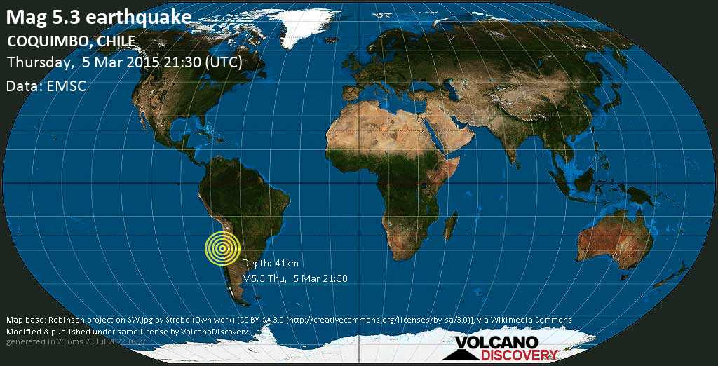 Moderate mag. 5.3 earthquake  - COQUIMBO, CHILE on Thursday, 5 March 2015