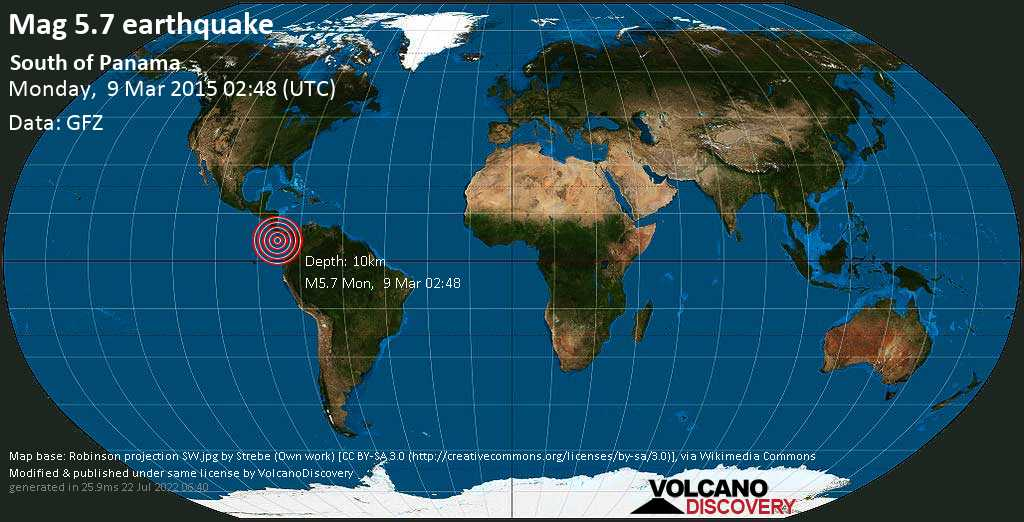 Moderate mag. 5.7 earthquake  - South of Panama on Monday, 9 March 2015