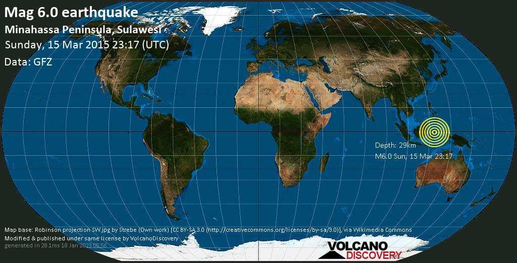 Strong mag. 6.0 earthquake  - Minahassa Peninsula, Sulawesi on Sunday, 15 March 2015