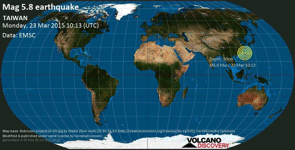Moderate mag. 5.8 earthquake  - TAIWAN on Monday, 23 March 2015