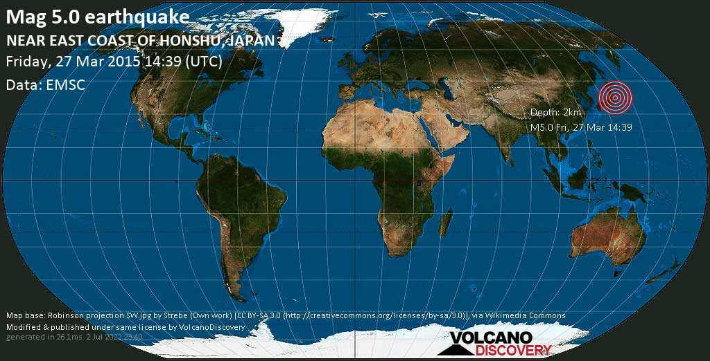 Moderate mag. 5.0 earthquake  - NEAR EAST COAST OF HONSHU, JAPAN on Friday, 27 March 2015