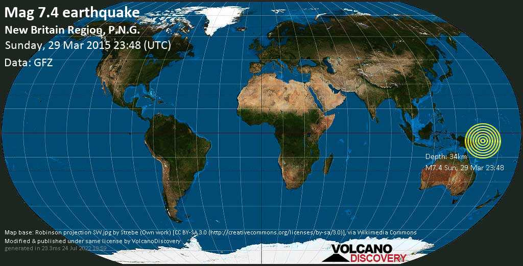 Major mag. 7.4 earthquake  - New Britain Region, P.N.G. on Sunday, 29 March 2015