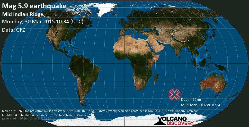 Moderate mag. 5.9 earthquake  - Mid Indian Ridge on Monday, 30 March 2015