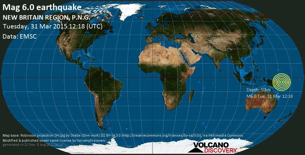 Strong mag. 6.0 earthquake  - NEW BRITAIN REGION, P.N.G. on Tuesday, 31 March 2015