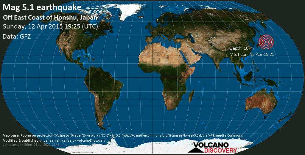 Moderate mag. 5.1 earthquake  - Off East Coast of Honshu, Japan on Sunday, 12 April 2015