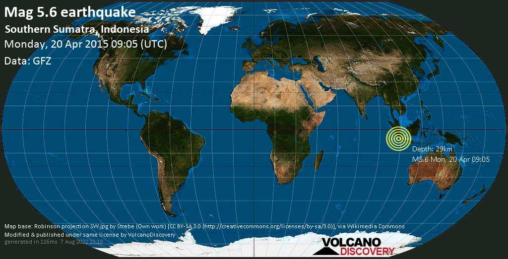 Moderate mag. 5.6 earthquake  - Southern Sumatra, Indonesia on Monday, 20 April 2015