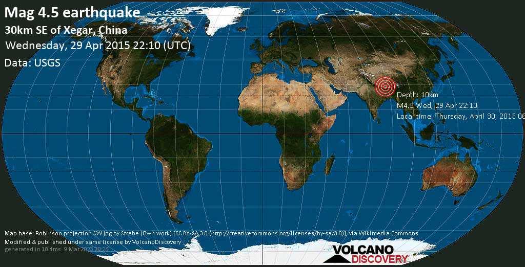 Light mag. 4.5 earthquake  - 30km SE of Xegar, China on Wednesday, 29 April 2015
