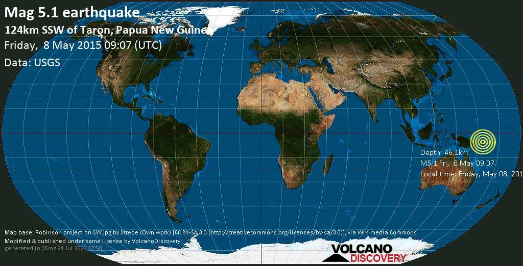 Moderate mag. 5.1 earthquake  - 124km SSW of Taron, Papua New Guinea on Friday, 8 May 2015