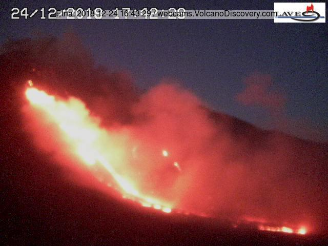 Eruption of new lava flow from Etna this afternoon (image: LAVE webcam)