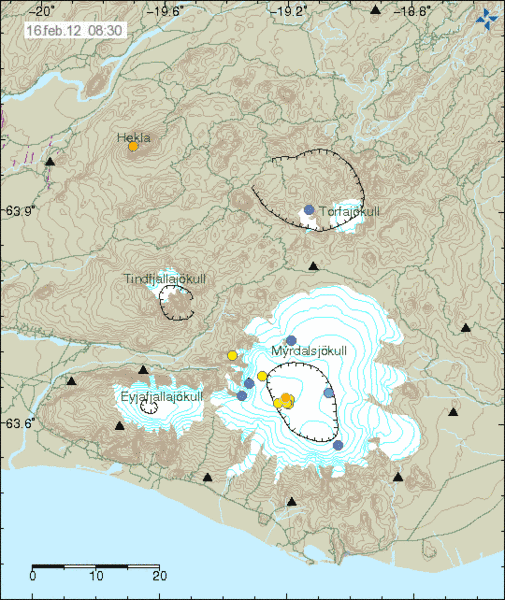 Recent earthquakes beneath Katla and Hekla volcanoes (Icelandic Met Office)