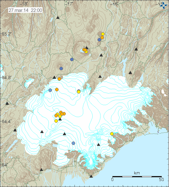 Earthquakes under Grímsvötn volcano, probably a result of the glacial flood (Icelandic Met Office)