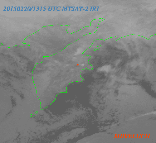 Ash plume from Shiveluch volcano today (MTSAT-2 image / VAAC Tokyo)