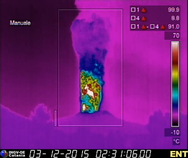 Thermal image of Voragine's lava fountain last night