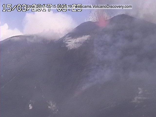 Strombolian activity and lava flow view from Montagnola (Radiostudio7 webcam)