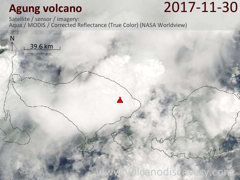 Satellite image of Agung volcano on  1 Dec 2017