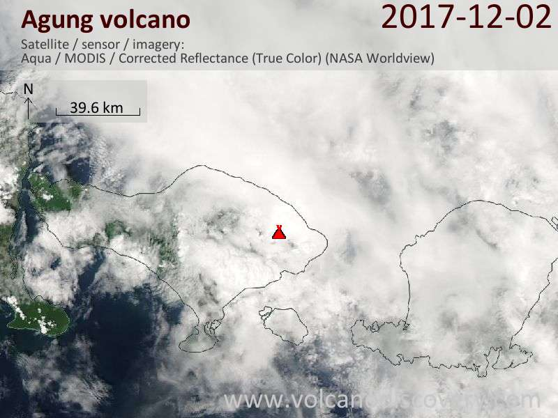 Satellite image of Agung volcano on  2 Dec 2017