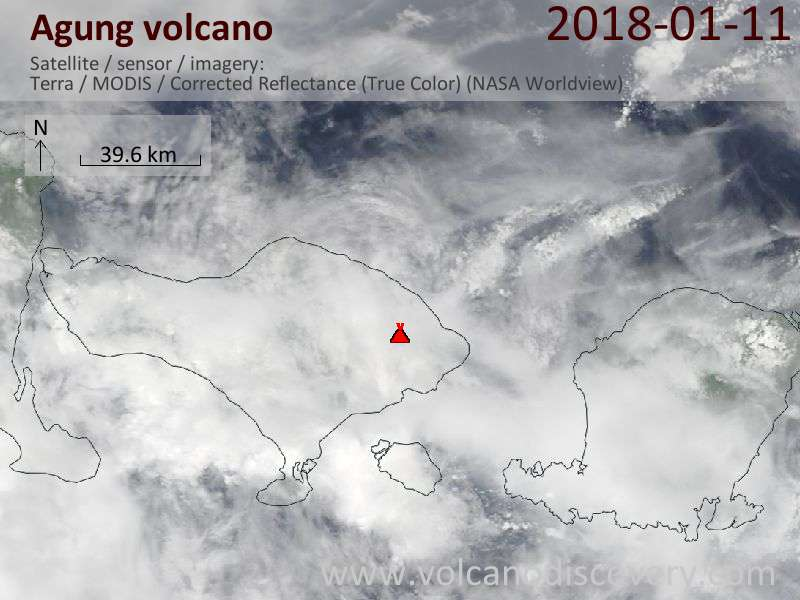 Satellite image of Agung volcano on 11 Jan 2018