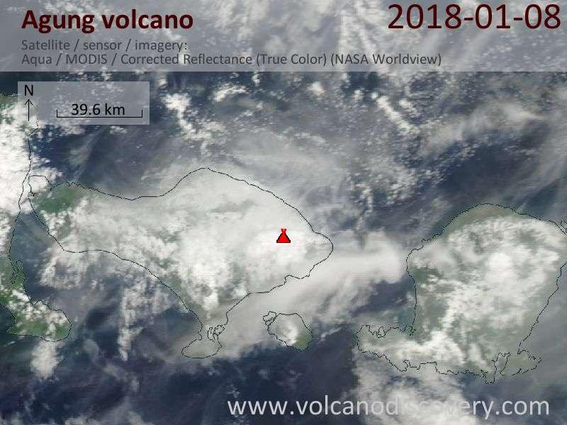 Satellite image of Agung volcano on  8 Jan 2018
